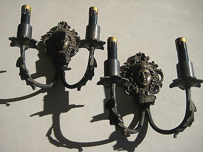 Antique Pair Of French Bronze Wall Sconces Candle Holders  Woman Head