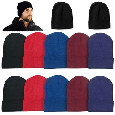 Lot of 6 Beanie Men Women Mix Colors Winter Cuffed Knit Beanies Hats Cap  Caps 2a1e0fa3e8c