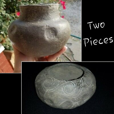 Pair of Indian Artifact Mississippian Dimpled Pottery Vessels TWO JARS Nice!!!!!