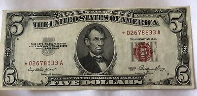 1953 $5* FIVE DOLLAR ~RED SEAL~STAR   LEGAL TENDER-Lightly Circulated