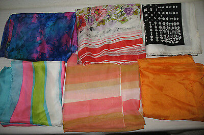 Vintage Scarves Polyester and Silk 6 pc LOT 1960s Blue Pink Flower Hand Rolled