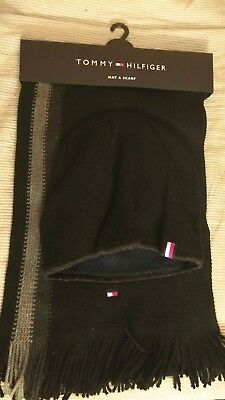 New! Tommy Hilfiger Hat and Scarf Black One Size