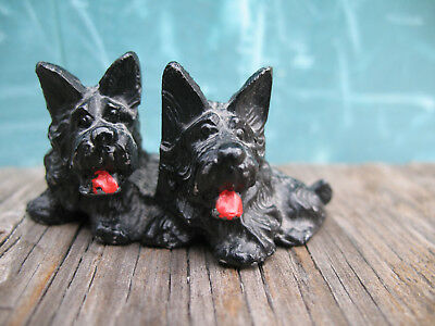 "Vintage Cairn Terrier Pair Black Figurine w Red Tongue Metal 1"" Miniature"