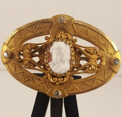 Stunning Antique Art Nouveau / Art Deco Gold Tone Cameo Brooch Pin C-Clasp