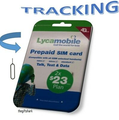 Preloaded LYCAMOBILE Triple punch 3in1 SIM Card $23 2 Months