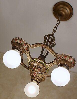 Antique Vintage 20's CAST IRON Art Deco Ceiling Light FIxture Chandelier