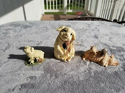 Pig Figurines Includes *1986 Enesco Pig Family* & *pig Sitting*