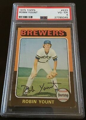 1975 Topps #223 Robin Yount Milwaukee Brewers RC PSA 4 Rookie Free Shipping