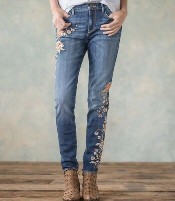 Driftwood Jackie  Embroidered Autumn Jeans 28 NWT Sundance Free People **NWT***