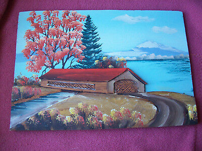 Vintage Wood Hand Carved,Painted 3D Picture Covered Bridge/Lake Wall Art Collect