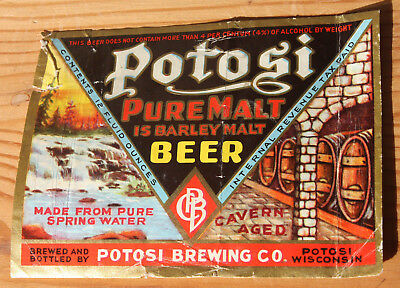 "Gorgeous & Rare 1930's Potosi ""Pure Malt is Barley Malt"" Beer Label IRTP"