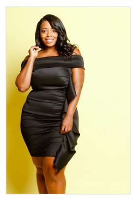 821bd3c208b Plus Size Scuba Cascade Ruffle Side Off Shoulder Bodycon Black Dress 1X 2X  3X