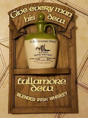 Vintage Tullamore Dew Blended Irish Whiskey 3D Wooden Sign