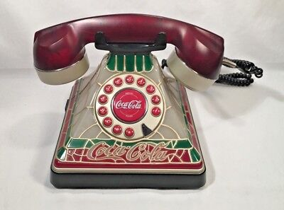 "Coca-Cola Home Telephone ""tiffany"" Style Faux Stained Glass Look"