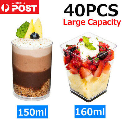 40x Round/Square Mousse Cake Dessert Cups Clear Plastic Drink Wine Jelly Tumbler