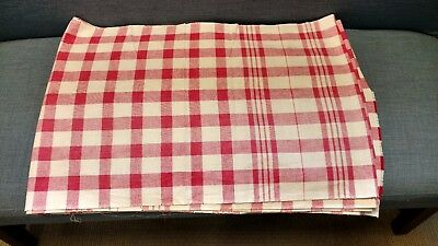 Very Long Vtg French Linen Red White Gingham Towel Fabric Material 27 ft/9 yd