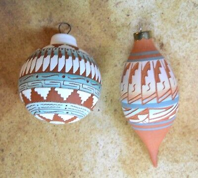 2 Native American Christmas Ornaments Navajo Etched Pottery Clay Artist Signed