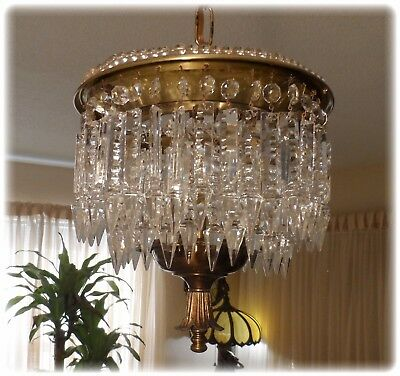 Antique Petite Chandelier With 64 Spear Crystals