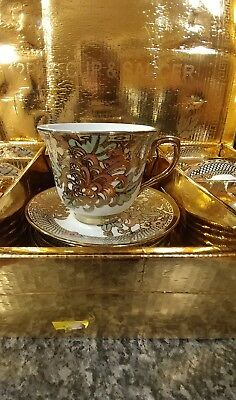 Asian 12 Piece Gold Plated Cup and Saucer Set