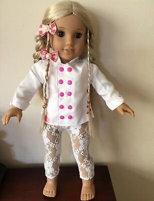 """AMERICAN GIRL DOLL CLOTHES to fit 18"""" Doll JACKET STRETCH LEGGINS &  2 HAIRBOWS"""