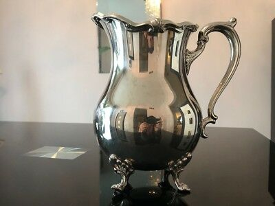 Vintage Silver Plated Water/Wine Pitcher/Jug with Ice Lip by F.B. Rogers Silver.