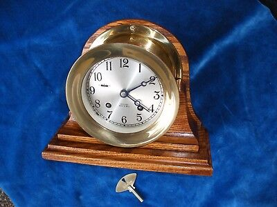 Awesome  6 Inch Chelsea Ships Bell Clock With Oak Stand  Overhauled And Serviced