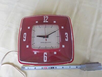 vintage Red GE Electric Wall Clock 2H34 GENERAL ELECTRIC USA WORKS! The Contour
