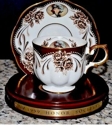 Avon 1999 Mrs P. F. E. Albee Honor Society TEA CUP & SAUCER With STAND