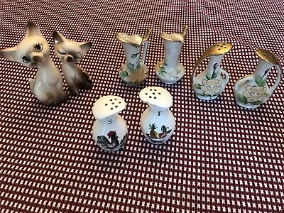 Vintage Relco Salt And Pepper Shakers Japan & cats Rooster pitcher Lot 4 sets