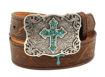Nocona Western Girl Belt Kids Embossed Scroll Turquoise Cross Brown N4438802