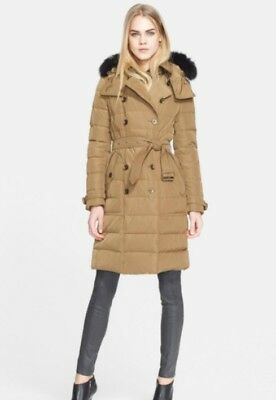 6e6eefa9a Burberry Brit coat Allerdale Mid-length Hooded Double Breasted Down fox fur