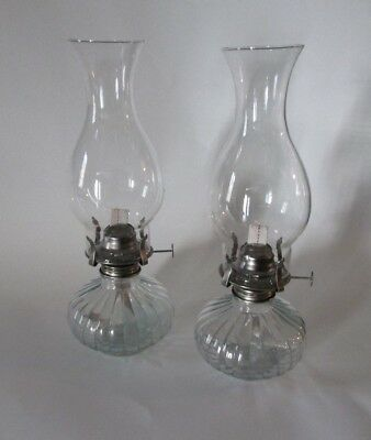 New Lot Of 2 Oil Lamp Kerosene Lantern Lamp Vintage Clear Glass Wick Metal
