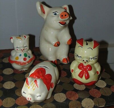 FOUR! Vintage PIGGY BANKS Pottery USA