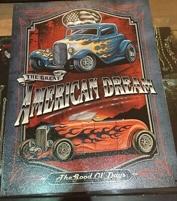 Hot Rod Metal Sign The Great American Dream Car Garage USA Made Size 12.5 x 16