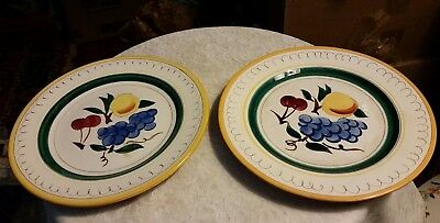 """TWO Stangl Fruit Dinner Plates Hand Painted and Carved Vintage Made in USA 10"""""""