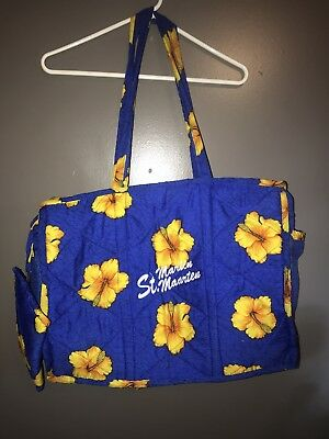 st maarten extra large summer tote bag quilted  blue with yellow flowers