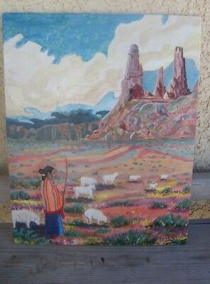 Native American Navajo Maiden with Sheep, Original painting by Robin Wise