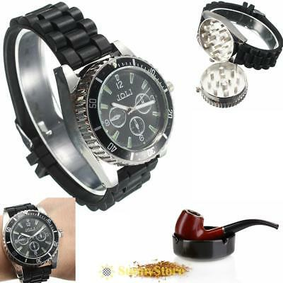Black Metal Alloy Wrist Watch Mini Herb Spice Tobacco Grinder Cigarette Crusher