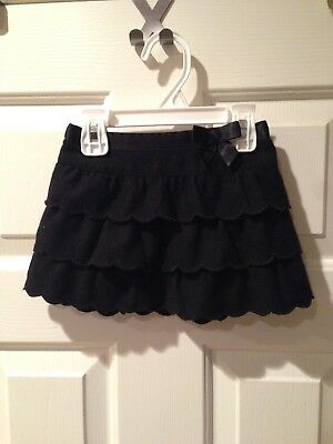 Janie and Jack 6-12 months black dressy skirt ruffle tiered warm wool lined GUC