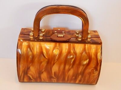 Vintage Lucite Box Purse Marbleized Caramel Root Beer Swirl Stylecraft Miami