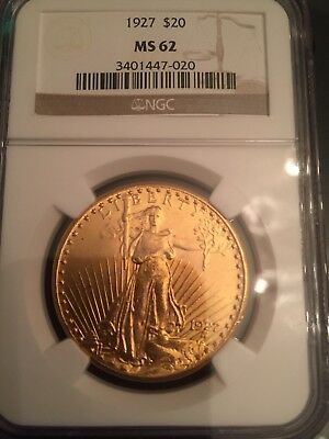 1927 $20 St Gaudens Gold Double Eagle Coin (NGC MS 62 MS62)