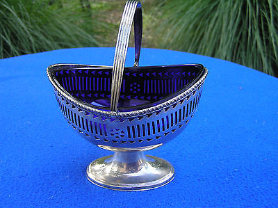 Silver plated basket with cobalt glass insert
