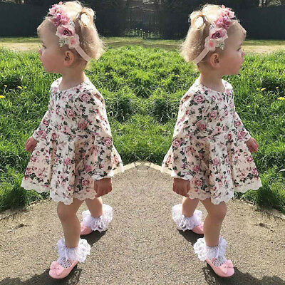 Cute Toddler Kids Baby Girls Floral Lace Dress Pageant Princess Dresses Clothes