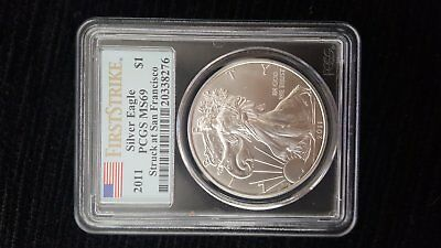 2011 PCGS MS69 Silver eagle walking liberty USA 1 Troy oz silver coin