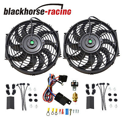 """New Black 2X 12""""electric Cooling Fan Push-In Radiator Fin Probe + Thermostat Kit"""