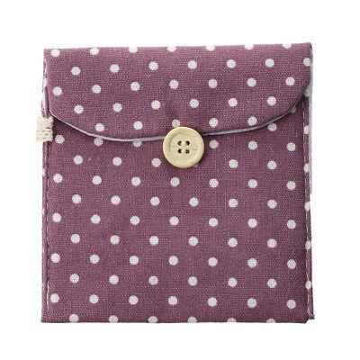 Light Purple Woman Cotton Blends Dotted Sanitary Napkin Holder Bag Pouch G9H2