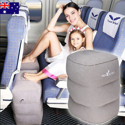 2019 Inflatable Travel Footrest Leg Rest Pillow Kids Bed Lay Down PVC Flocking