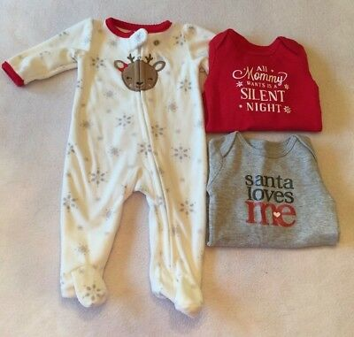 Unisex Baby Size Newborn - Christmas Clothes Lot - PJS - NEW Free Shipping!
