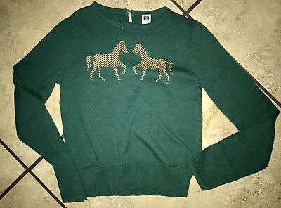 Janie and Jack Size 8 Equestrian Sweater Green Horses