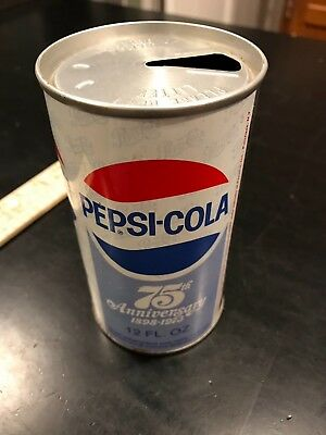 Pepsi Can Vintage 75th Anniversary Can, Opened & Empty, 1973 can